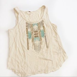 Free People Beaded Boho Aztec Blouse